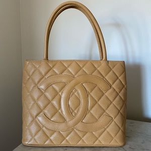 CHANEL Caviar Quilted Medallion Tote in Tan